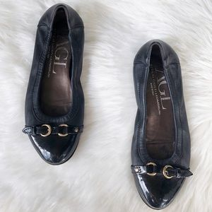 AGL leather patent leather black ballet flats 37